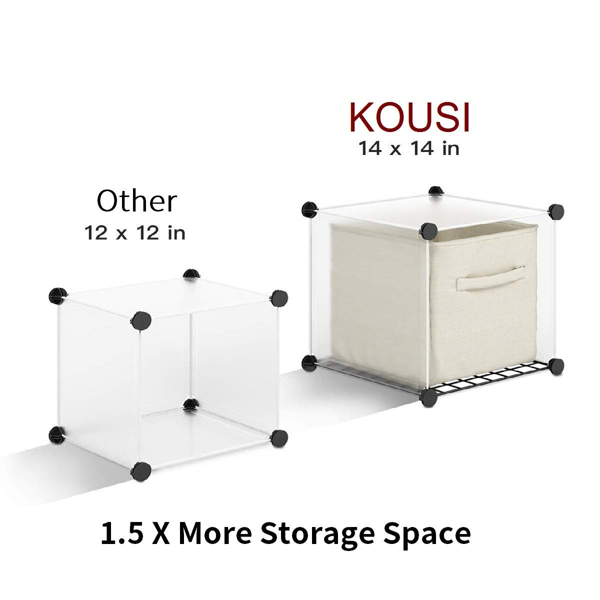 KOUSI Portable Storage Cubbies Storage Shelves Storage Organizer Shelf for Clothes Portable Shelf Toy Organizer Cabinet Plastic Dresser Clothes Storage Storage Cubes, Black, 12 Cubes by KOUSI (Image #5)