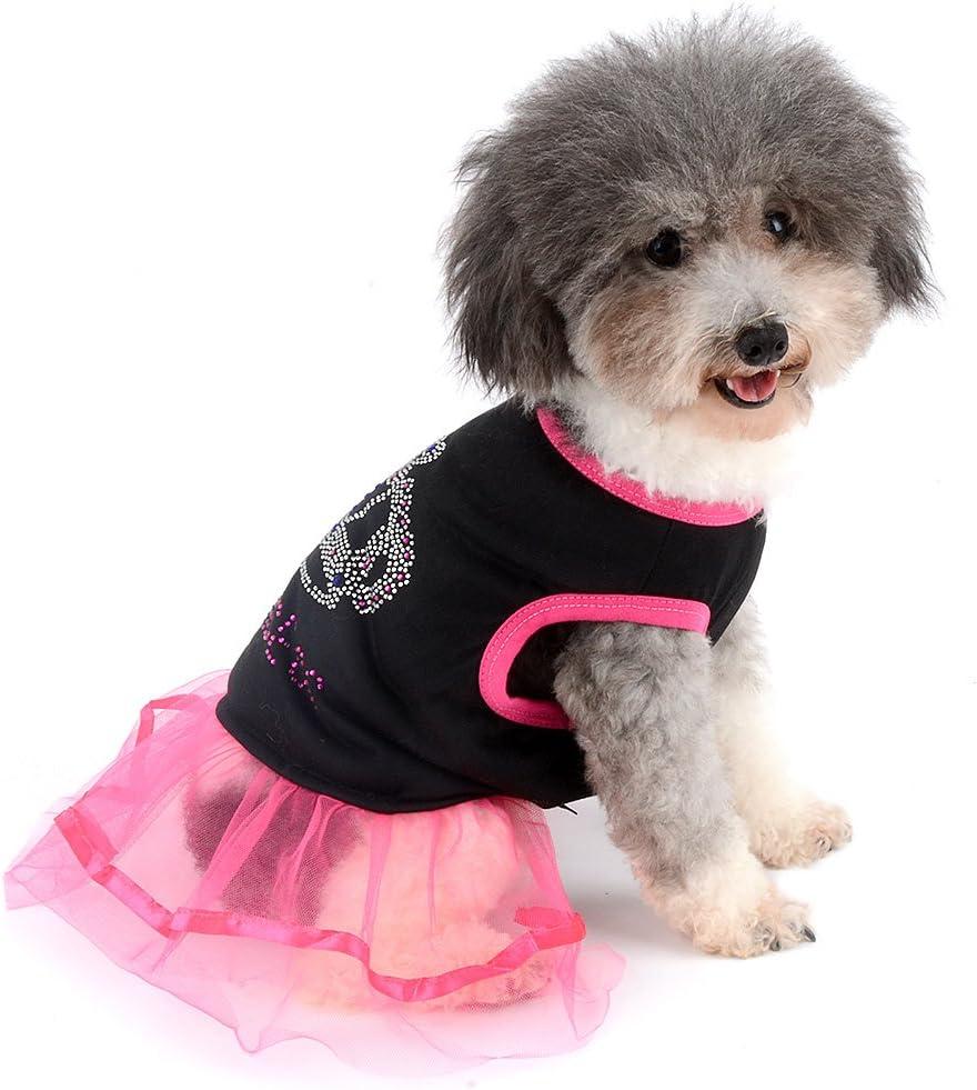 Ranphy Strass Prinzessin Hund Kleid Spitze Tutu Weste Rock f/ür kleine Hunde Katze M/ädchen Kleidung