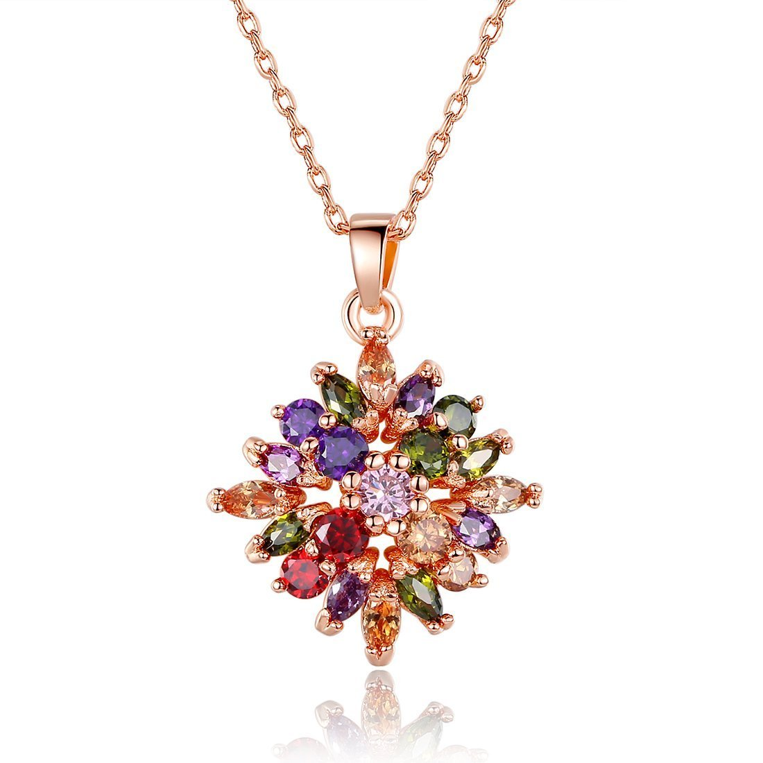 Alma 18K Champagne Gold Plated Colorful Gemstone Flower Shape Top Quality Fashion Pendant Necklace
