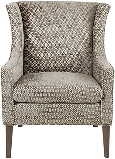 Madison Park Addy Accent Chairs-Rubber Wood, Chenille Armchair Modern Contemporary Style Living Room Sofa Furniture Wing Back, Track Arm, Bedroom Lounge, 31 Wide, Mushroom
