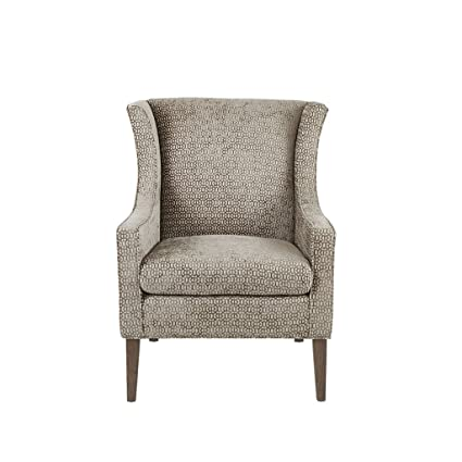 Madison Park MP100-0704 Addy Accent Chairs-Rubber Wood, Chenille Armchair Modern Contemporary Style Living Room Sofa Furniture Wing Back, Track Arm, ...