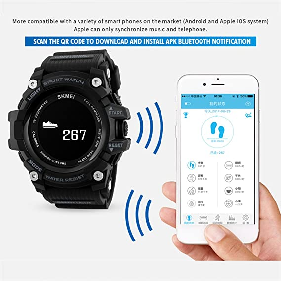 SKMEI Sports Smart Watches for Men BT 4 0 Smartwatch Waterproof 3ATM SMS  APP Reminder Pedometer Tracker Remote Camera for iOS Android