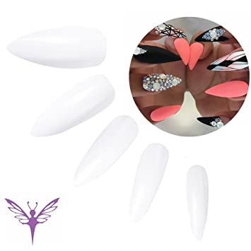 Artificial Nail Tips 50x Pieces Set Stiletto False Nails Full Cover Natural Opaque Acrylic Art Nail Care, Manicure & Pedicure
