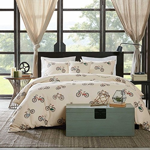 4 Piece Multicolored Bicycle Themed Duvet Cover Queen Set, T