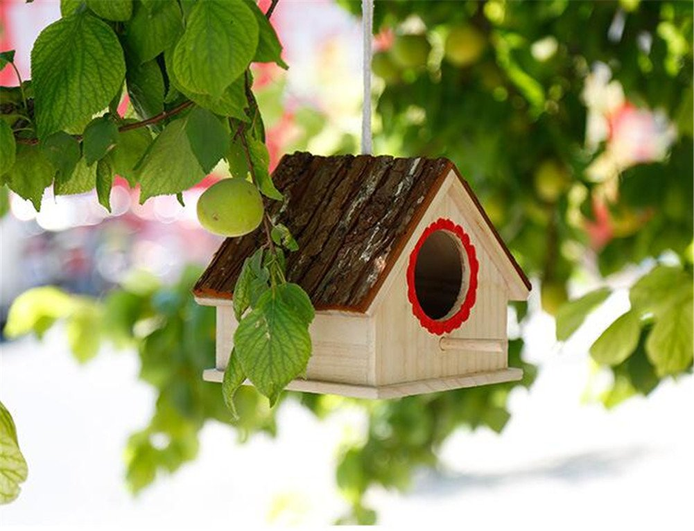 Wood Birds Nest Box Breeding Parrot Cockatiels Swallows Nest Outdoors Roof Wooden Bird House Hanging Decoration