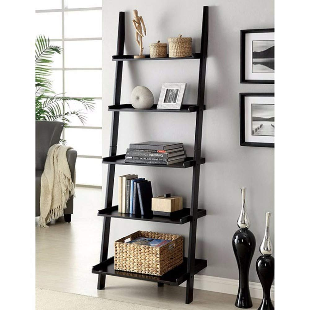 Benzara Sion Contemporary Ladder Shelf, Black Finish