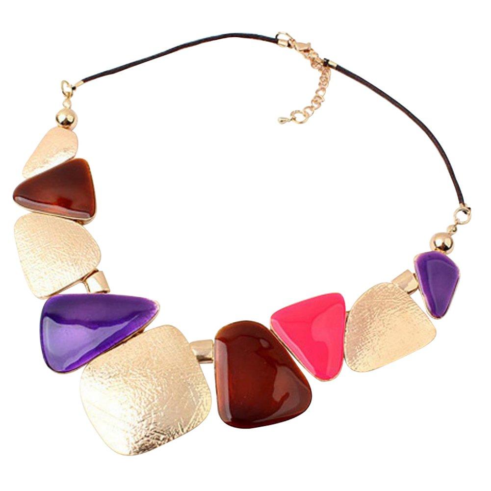 Youkara collana girocollo per donne e ragazze colorato motivo geometrico collana