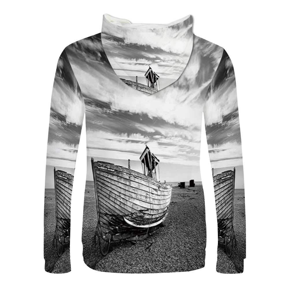 Ocean Decor Sweatshirt,Havana Beach Sunny Tropics Mountains and Rocks Decorative Hooded for Men /& Boys,Small