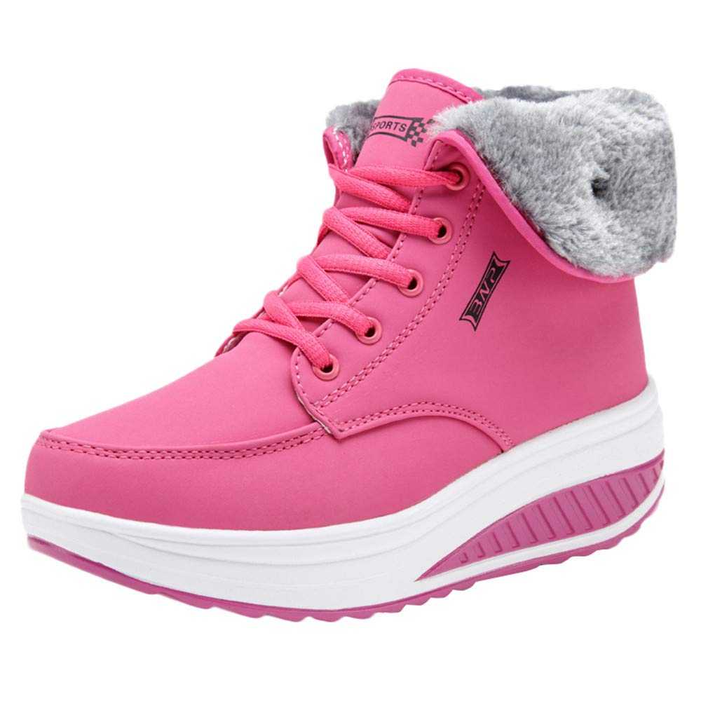 Pervobs Hot Sale Women Leisure Plus Velvet Bottom Sport Shoe Wedges Thick Bottom Lace-Up Sneakers