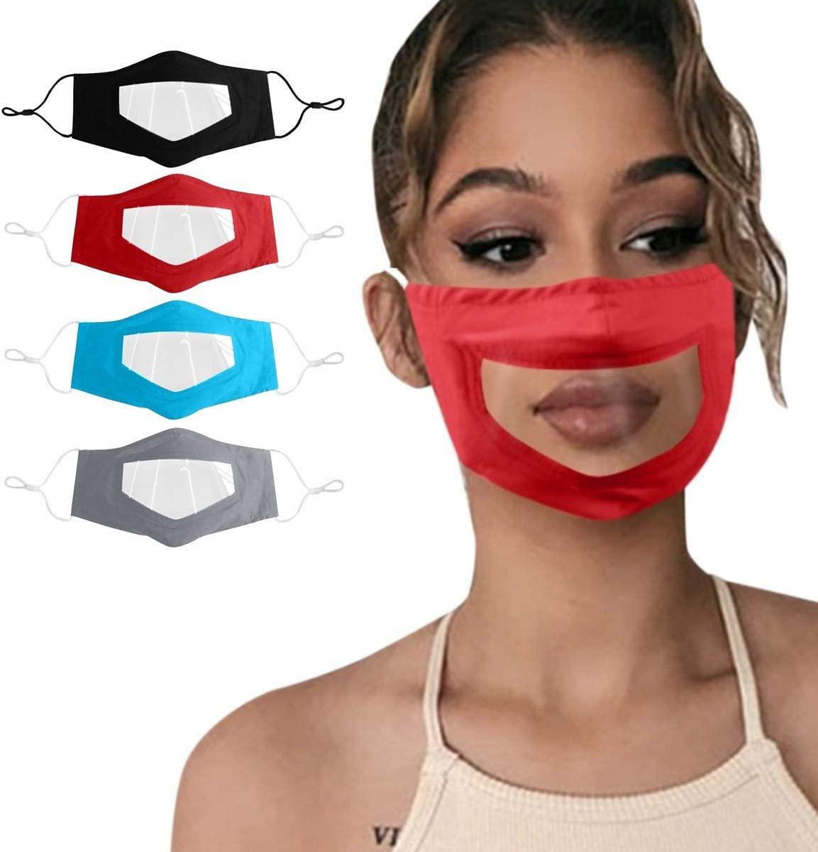 Black LZKUVFH 4Pcs Reusable Face Shield with Clear Window Visible Expression for The Deaf and Hard of Hearing