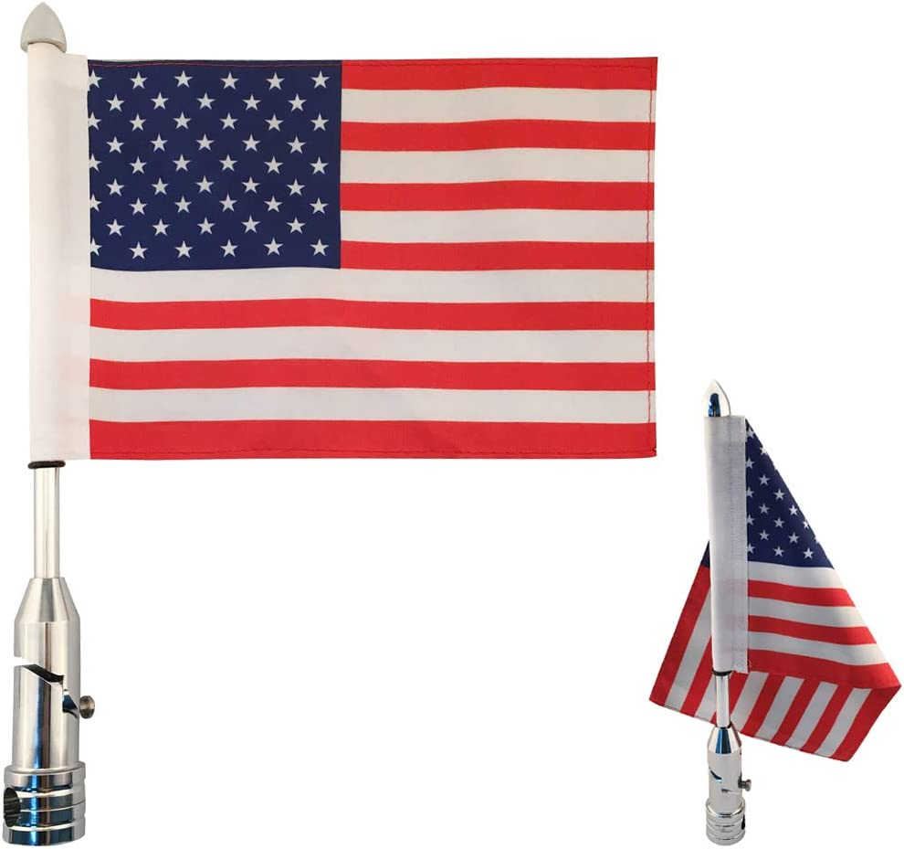 2 Pack Motorcycle Flagpole Mount Foldable 90/° with 2 Pack American Flag 6x9 Inch Flag Holder Fit for 1//2 Motorcycle Luggage Rack Harley Davidson Road King Touring Spring Honda Goldwing etc.