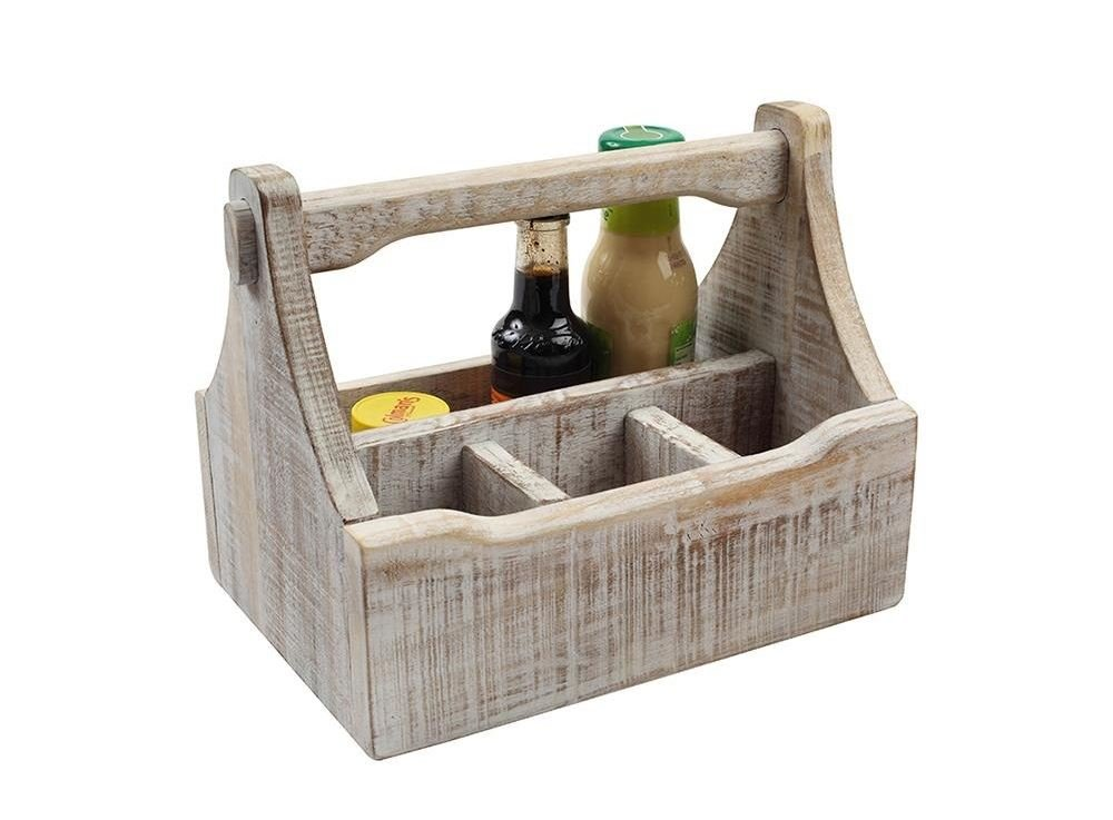 T&G 27310 Nordic 4 Compartment Table Caddy, Acacia Wood, White