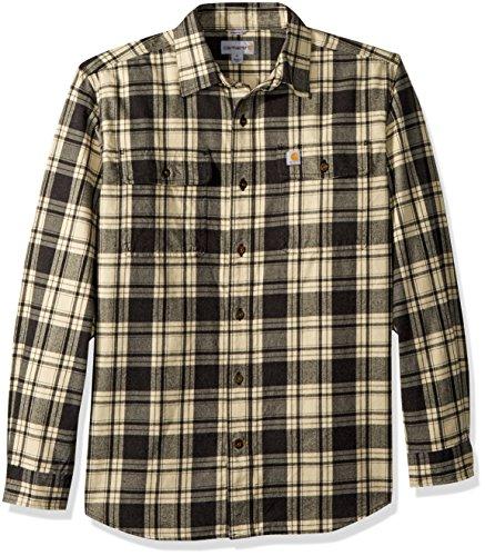 Carhartt Men's Hubbard Plaid Flannel Shirt, Black Heather, S