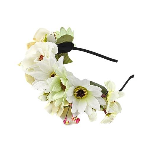Fenteer Damen Blume Haarreif Hochzeit Kopfband Kranz Beige Amazon