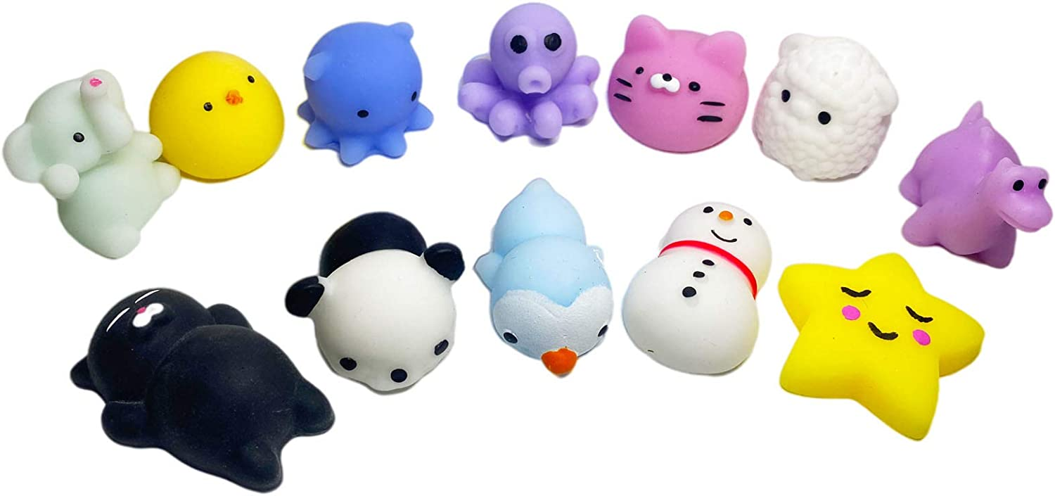 12 Pack Mini Squishies Mochi Toys for Kids Kawaii Mochi Animal Squeeze Stress Relief Toys Party Favors Thanksgiving Christmas Kid Gifts(Color Randomly)