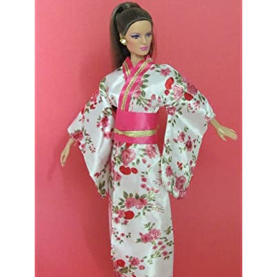 zfinding Barbie Doll Clothes : Japanese Silk Kimono with Amazing Print Fit Barbie Dolls: Toys & Games