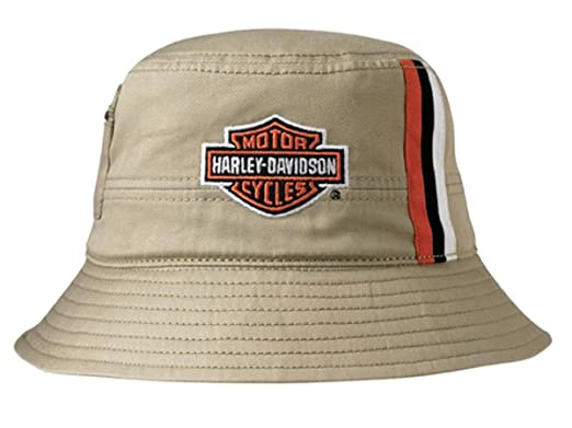 b51f78a79c9 Image Unavailable. Image not available for. Color  Harley-Davidson Mens  Khaki Stripes Bucket Hat HD-428