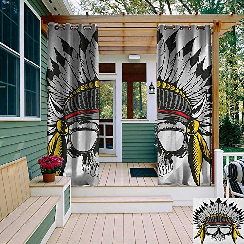 leinuoyi Skull, Porch Curtains Outdoor Waterproof, Dead Ancient Native American Tribe Leader Feather Head Crown with Glasses, for Privacy W72 x L96 Inch Grey Yellow and Red