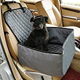 Hualite Car Dog Seat Cover, Hammock Style Front Pet Booster Seat with Side Flaps, Waterproof Foldable 2 in 1 Pet Carrier Travel Seat Cover Protector for Car Truck SUV