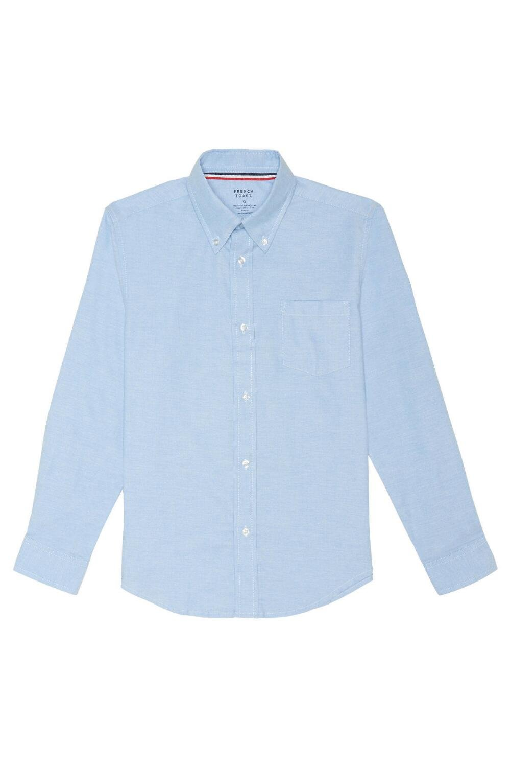 French Toast Big Boys' Long Sleeve Oxford Dress Shirt, Light Blue, 12