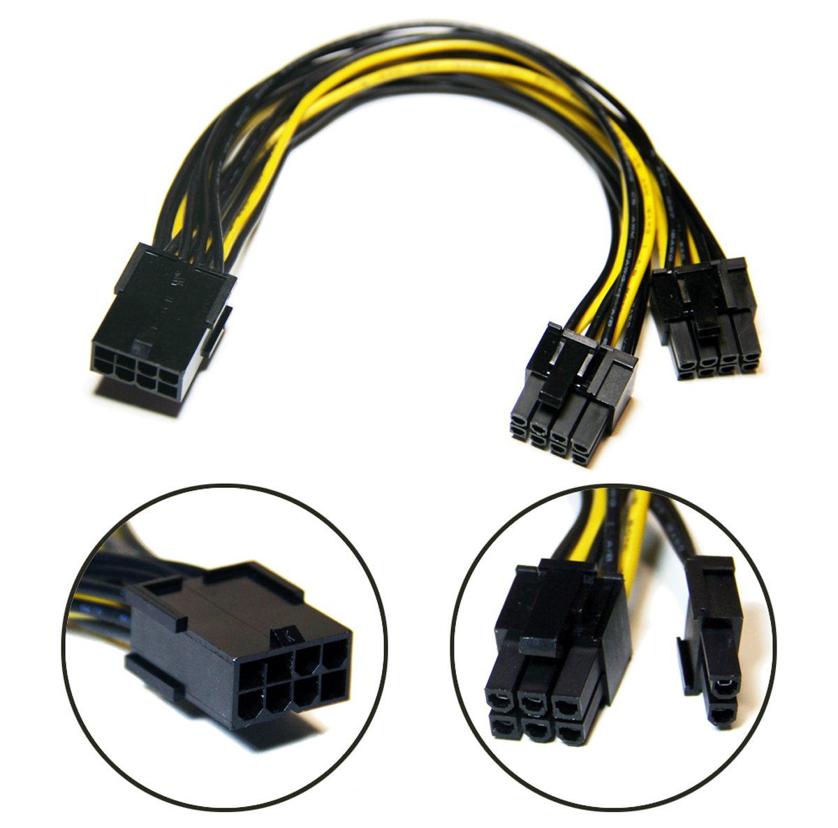 8 Pin PCI-E PCI Express Graphics Video Card GPU VGA 8 Pin Female to Dual GPU 8Pin (6+2) Pin Male GPU 8 pin Splitter Power Extension Cable 8 Pin GPU molex (9-inch) 3 Pack +Bonus TeamProfitcom by TeamProfitcom (Image #2)