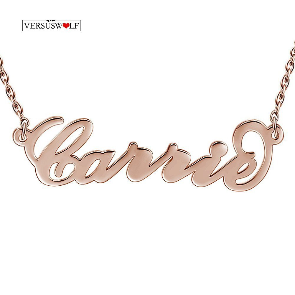 VERSUSWOLF Sterling silver Personalized Pendant Necklace Rose Gold plated Necklaces made with Any Name