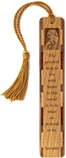 product image for Socrates Quote How to Live with Honor Engraved Wooden Bookmark with Tassel - Search B07QYQ1T4H to See Personalized Version