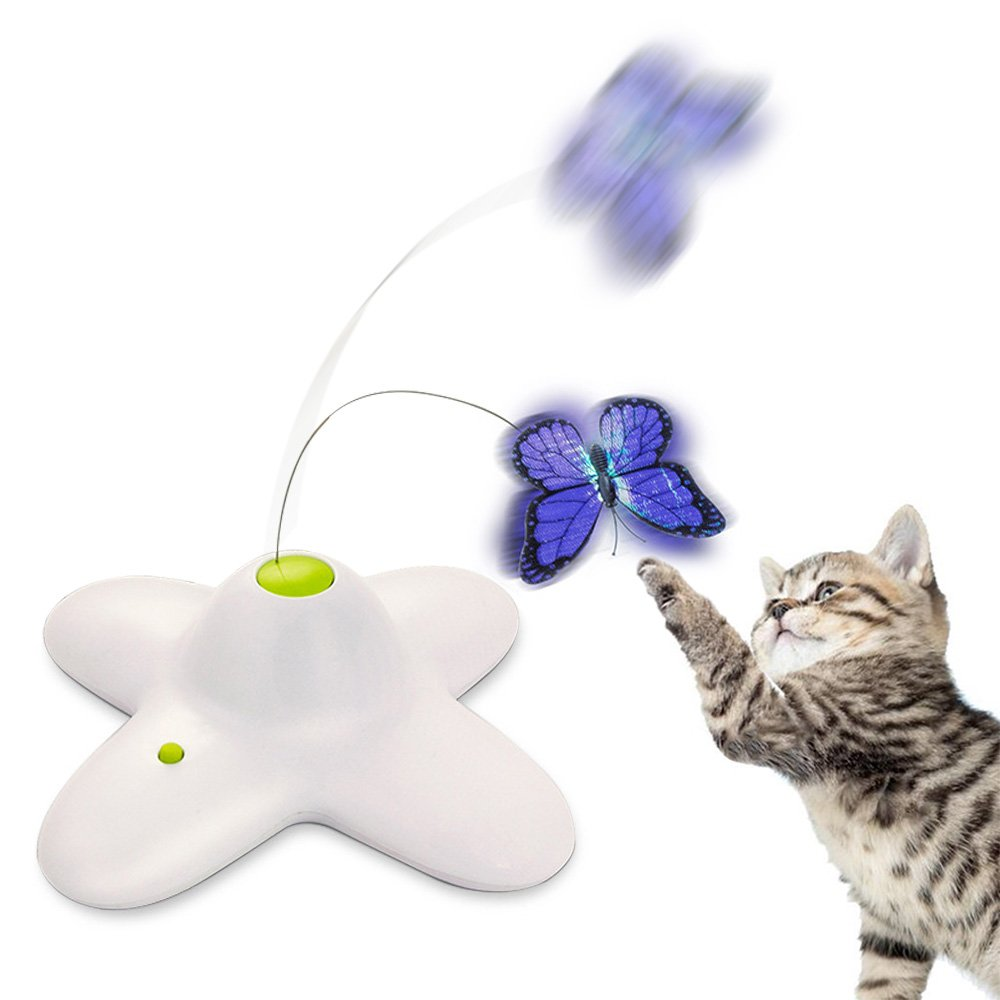 Zenes Butterfly Cat Toy - Electric Flutter Rotating Butterfly, Funny Cat Teaser Toy Two Replacement