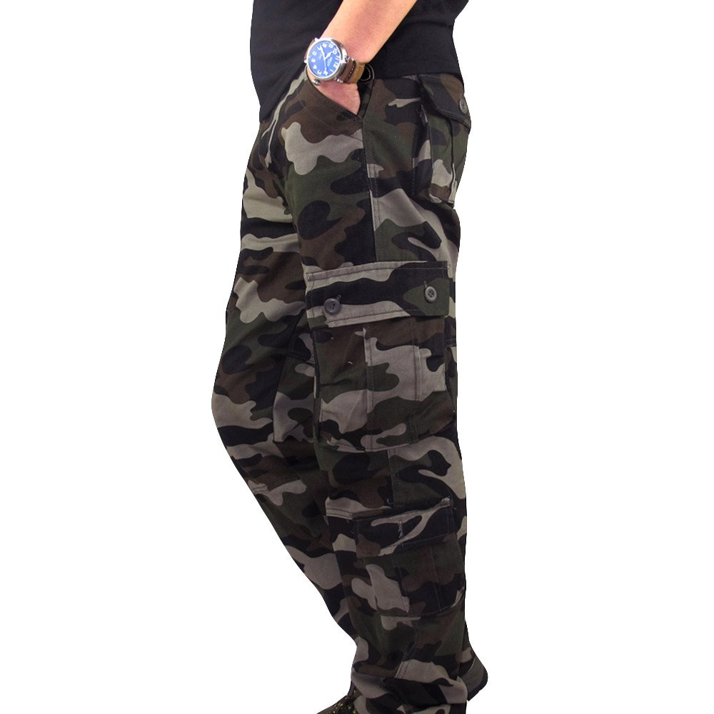 HHei_K Mens Plus Size Casual Cotton Solid Camouflage Pocket Work Long Trouser Sport Overalls Pants by HHei_K (Image #3)