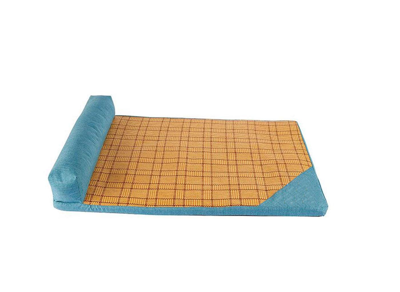 bluee Large bluee Large ZJEXJJ New straw mats summer cool kennel large medium and small dog mattress pet supplies pet summer cool pad (color   bluee, Size   L)