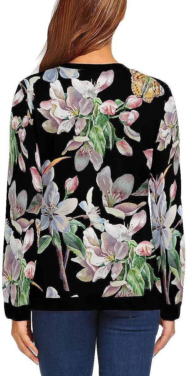 INTERESTPRINT Womens Long Sleeve Pullover Flowers Cute Pattern Crew Neck Sweatshirt Tops XS-XL