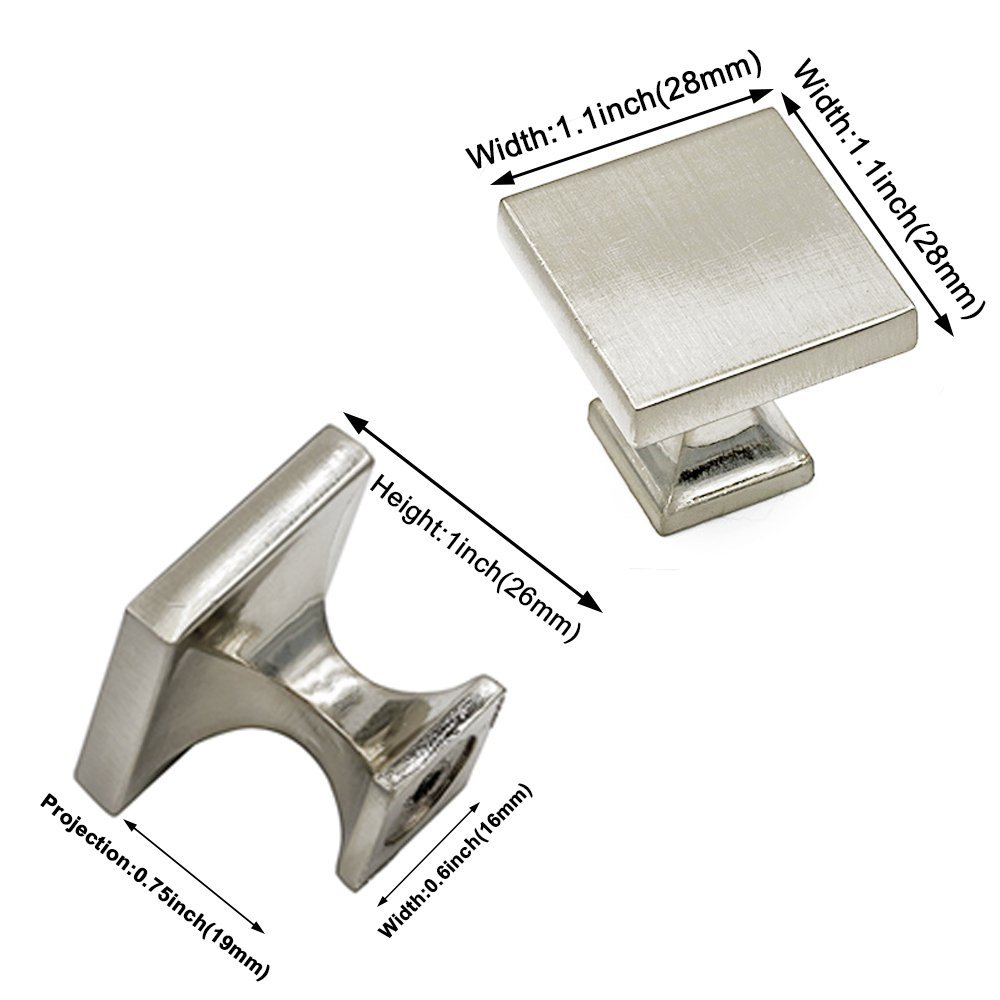 homdiy Cabinet Knobs Brushed Nickel Cabinet Door Knobs 30 Pack - HD6785SNB Cabinet Hardware WxW:1-1/10in Square Knobs for Kitchen Cabinets by homdiy (Image #2)
