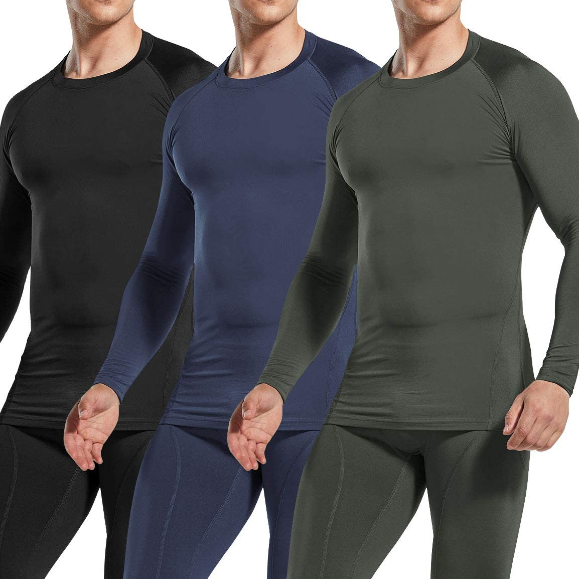 Athletic Running T-Shirt Winter Gear Sports Base Layer Top ATHLIO 1 or 3 Pack Mens Thermal Long Sleeve Compression Shirts