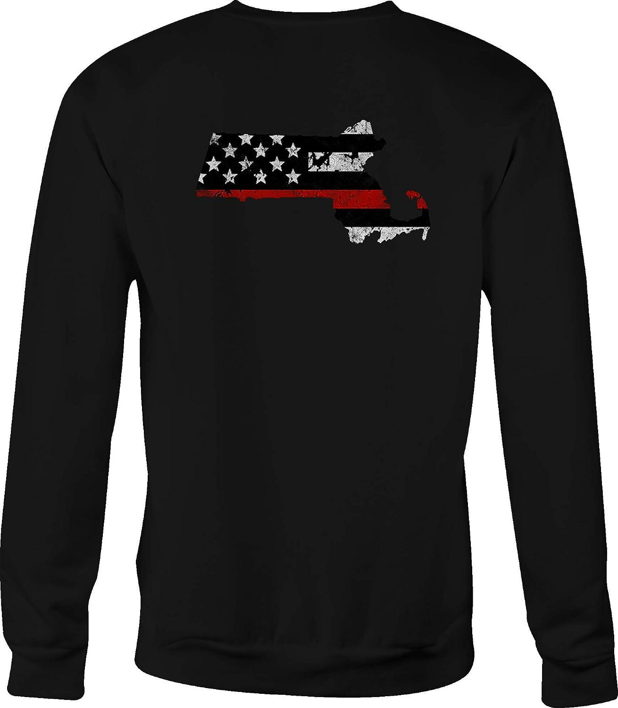 Thin Red Line Distressed American Flag Crewneck Sweatshirt Massachusetts