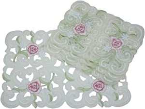 Xia Home Fashions Dainty Rose Embroidered Cutwork Spring Placemats, 12-Inch by 18-Inch, Set of 4