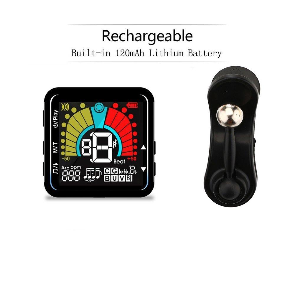 Afinador Digital Guitarra, Bess, Ukulele, Violín, Banjo, 2 en 1 Metrónomo y Sintonizador Recargable por USB con Gran Pantalla Cromática Rotación de 360°Grados[Versión actualizada]