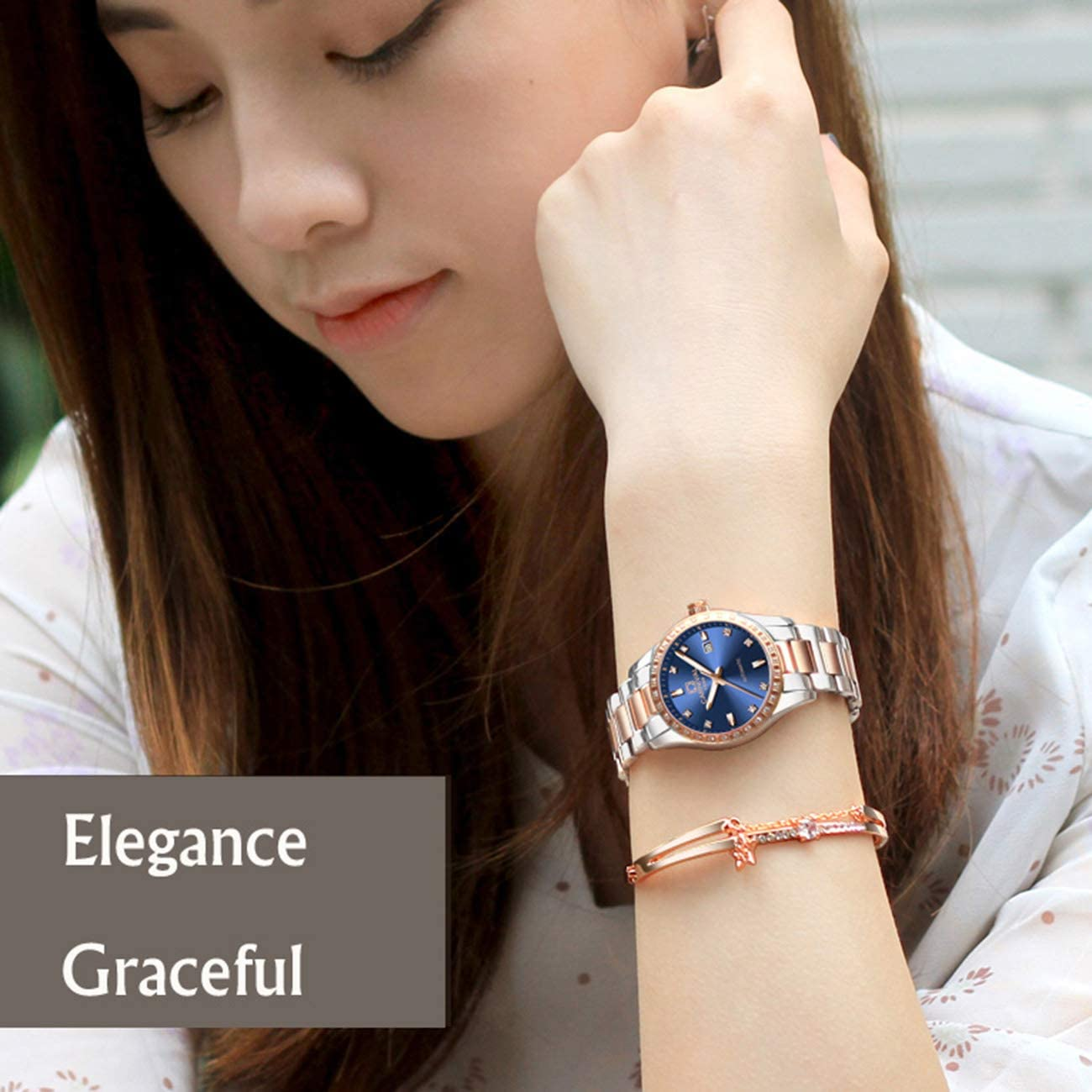QXue Femmes Montre mécaniques Imperméable Montres pour Acier Bracelet en Acier Inoxydable colorC