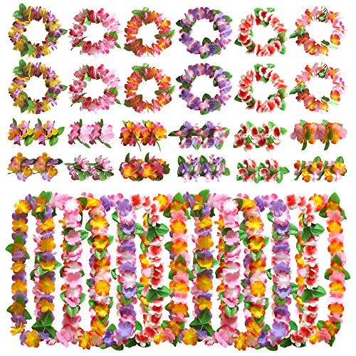 Satkago 48pcs Hawaiian Party Decorations,12 Hawaiian Necklace 12pcs Hawaiian Garland Headwear 24pcs Bracelet for Holiday Wedding Beach Dance Birthday Hawaiian Luau Party Supplies