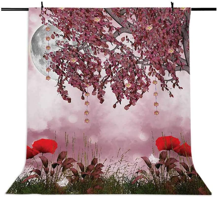Poppy 6.5x10 FT Photo Backdrops,Dream Garden with Poppies Full Moon Floral Tree Branches Fairy Tale Paradise Scenery Background for Party Home Decor Outdoorsy Theme Vinyl Shoot Props Mauve Red