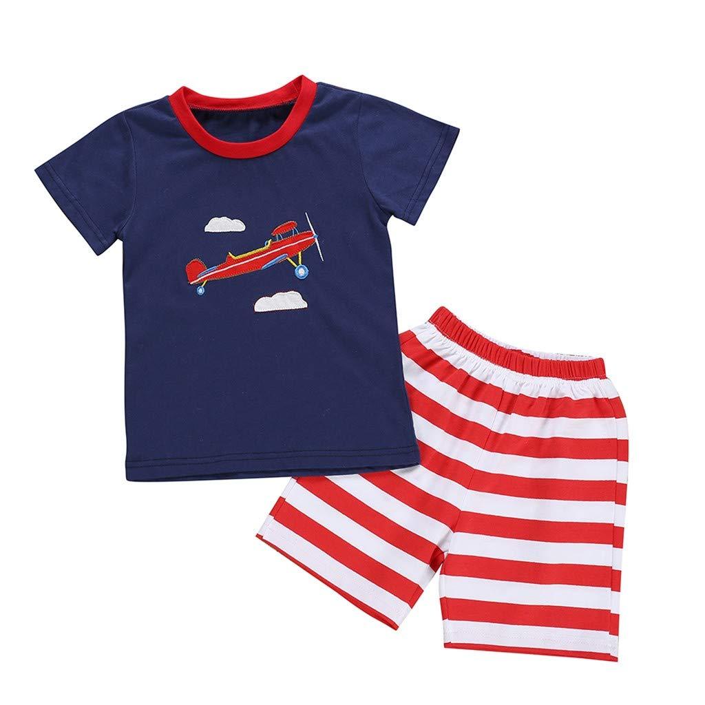 Baby Boys Pajamas Set 2pcs, Children Kids Cartoon Aircraft Print Tops T-Shirt+Stripe Shorts Sleepwears Sets (3-4 Years, Blue)