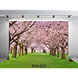 7x5ft Amazing Sakura Flower Road Seamless Poly Fabric Photo Backdrops Customized Studio Background Cherry Blossoms Street Studio Props RM-021