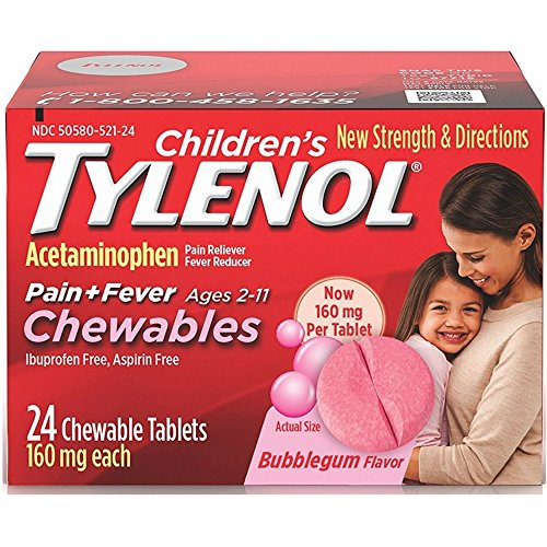 Chewable Tablets Bubble Gum (Children's Tylenol Chewables, Bubblegum, 24 Ct.)