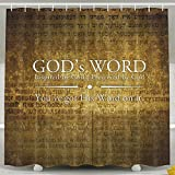 Dickesport Shower Curtain print Christian God's Words Cross polyester fiber Bathroom Decoration Set with Hooks,60Wx72H Inches