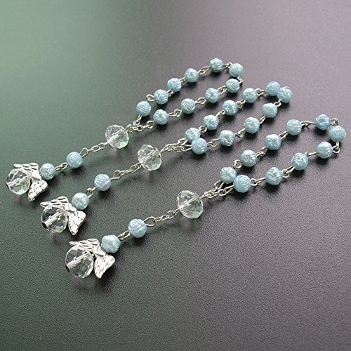 - 24 Pcs Blue Mini Rosary baptism Favors with Angels for Boy Recuerdos de Bautizo Finger Rosaries Silver Plated