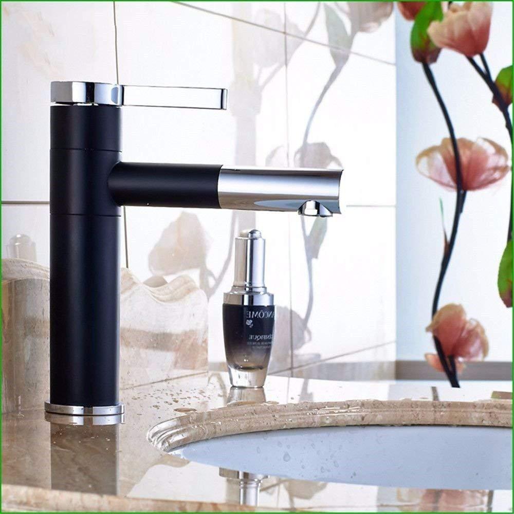 JingJingnet 洗面器の混合蛇口浴室のシンクの蛇口すべての浴室は銅色の白黒洗面器用混合器の回転式お湯と水の浴室の蛇口を塗装 (Color : ブラック) B07S3SRXF2 ブラック
