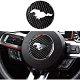 TopDall Carbon Fiber Steering Wheel 3D Sticker Cover Trim For Ford Mustang 2016-2019