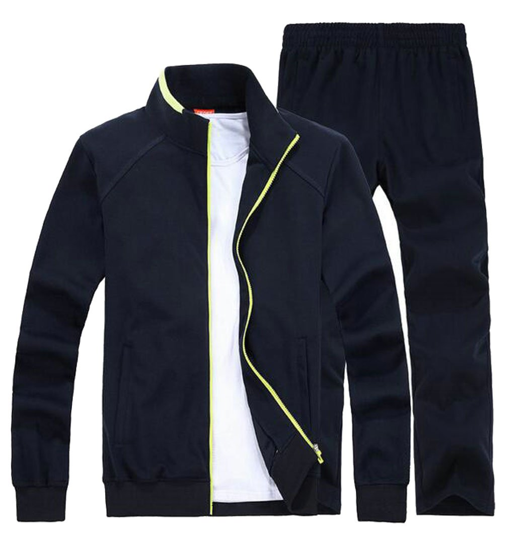 Pandapang Mens Plus Size Sports Running Jackets Sweatsuit Tracksuits Sets Dark Blue Medium