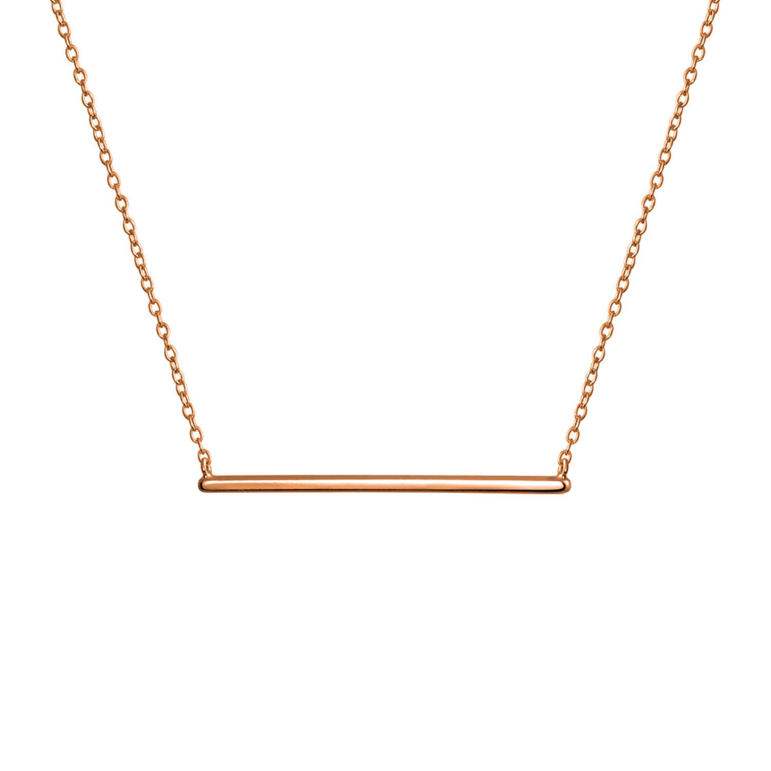 Bling Jewelry Modern Bar Pendant Rose Gold Plated Necklace 16 Inches PFS-105-0525RG