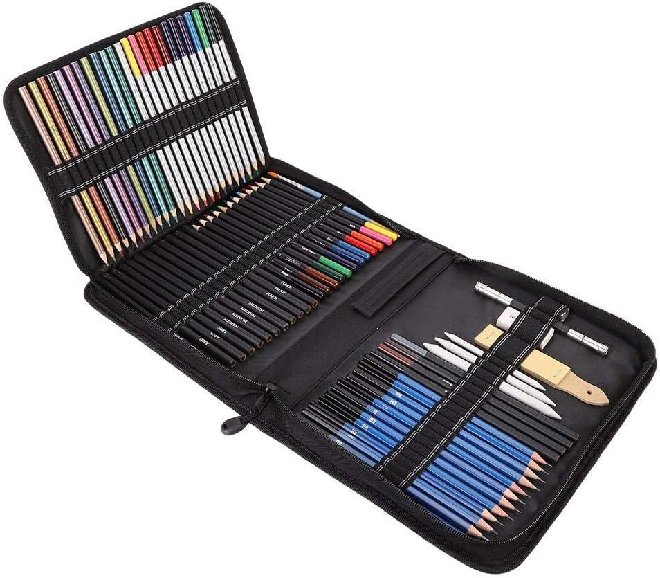 Juego de lápices de dibujo de 72 piezas en estuche con cremallera, juego de lápices de dibujo profesional de color Suministros de dibujo de arte con herramienta de palos de carbón de