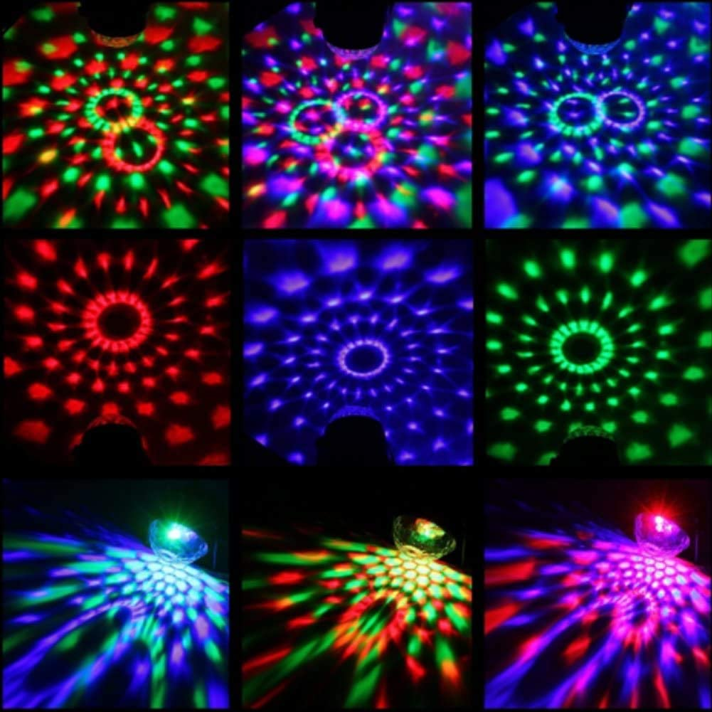 7 Lighting Colors Rotating Motive and Flash Mode Available Party Celebrations Clubs Sound Activated Stage Lights for Party /& DJ KINOEE Disco Lights 2-Pack Remote Crystal Disco Lights for Kids